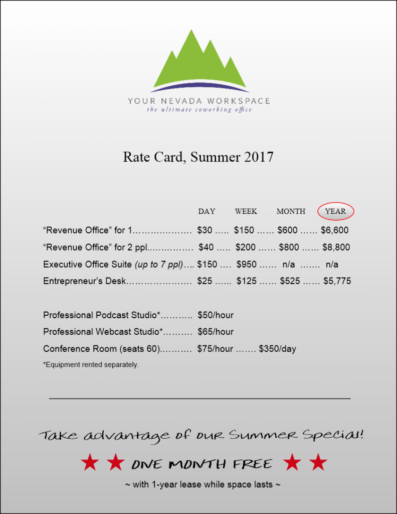 pricing for co-working office space in south lake tahoe